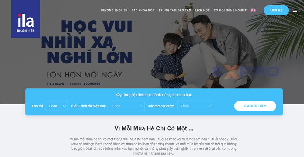 Thiết kế web trung tâm học tiếng anh