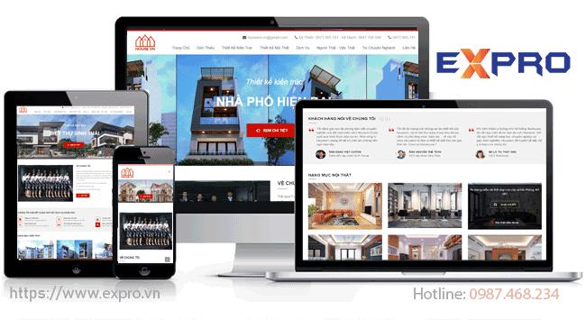 Thiết kế website kiến trúc, nội thất, xây dựng chuyên nghiệp chuẩn SEO Top Google