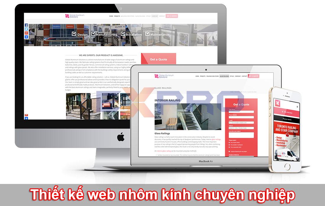 Thiết kế web nhôm kính chuẩn SEO dễ lên top Google