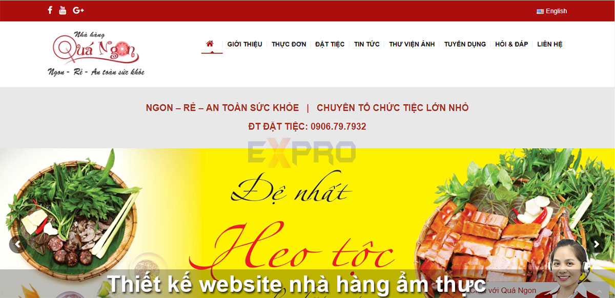 Thiết kế web nhà hàng ẩm thực đẹp, độc đáo chuyên nghiệp