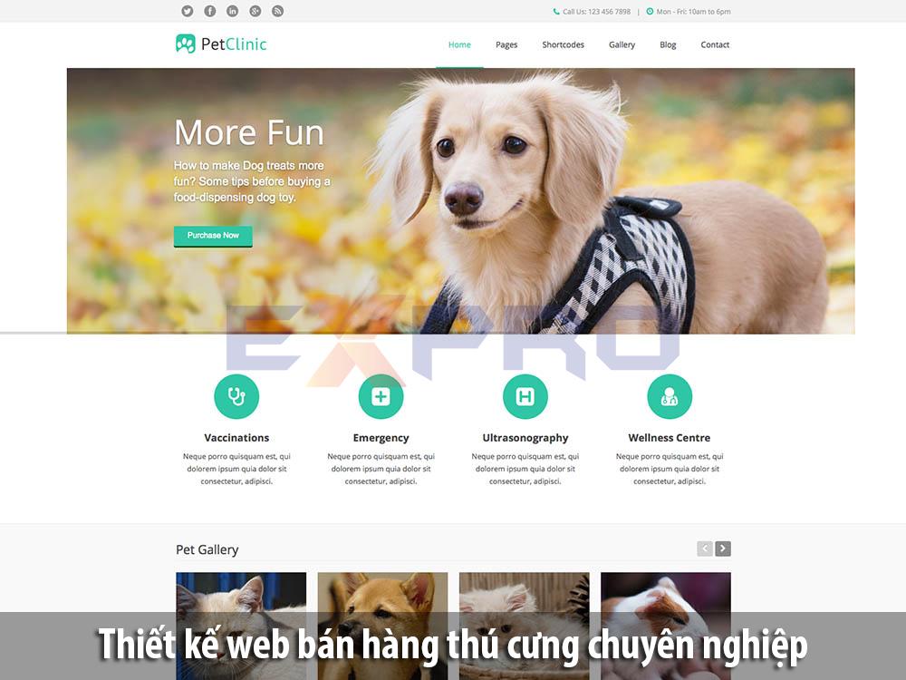 Thiết kế web shop bán thú cưng chuẩn SEO Google