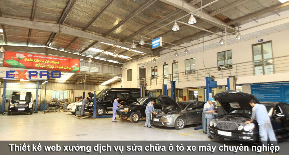 Thiết kế web showroom sửa chữa ô tô - xe máy