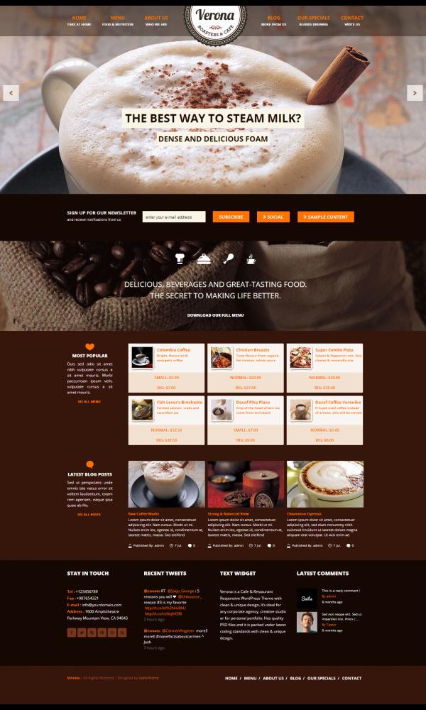 Thiết kế web giới thiệu quán cafe Verona