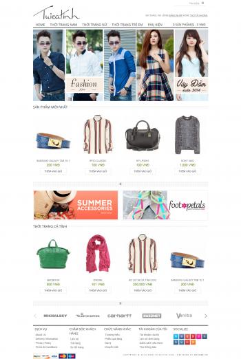 Mẫu Web bán hàng thời trang online Pure