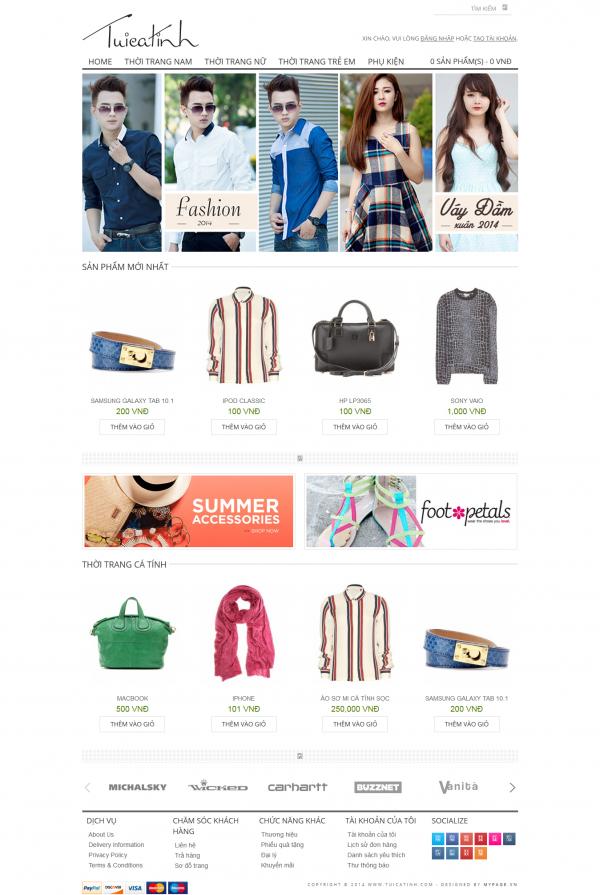 Thiết kế Web bán hàng thời trang online Pure
