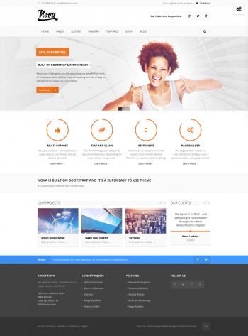 Mẫu web giới thiệu công ty kết hợp bán hàng Nova
