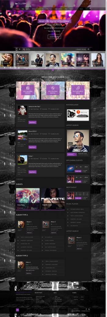 Mẫu website âm nhạc Clubix